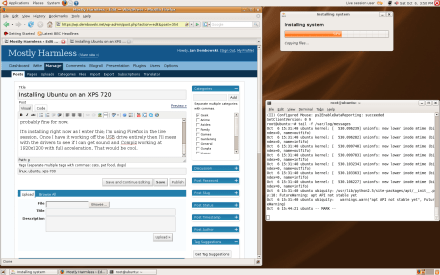Ubuntu 7.10 beta being installed