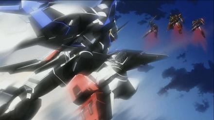 Gundam Exia attacking the Throne Gundams