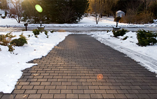 Driveway with no ice on it