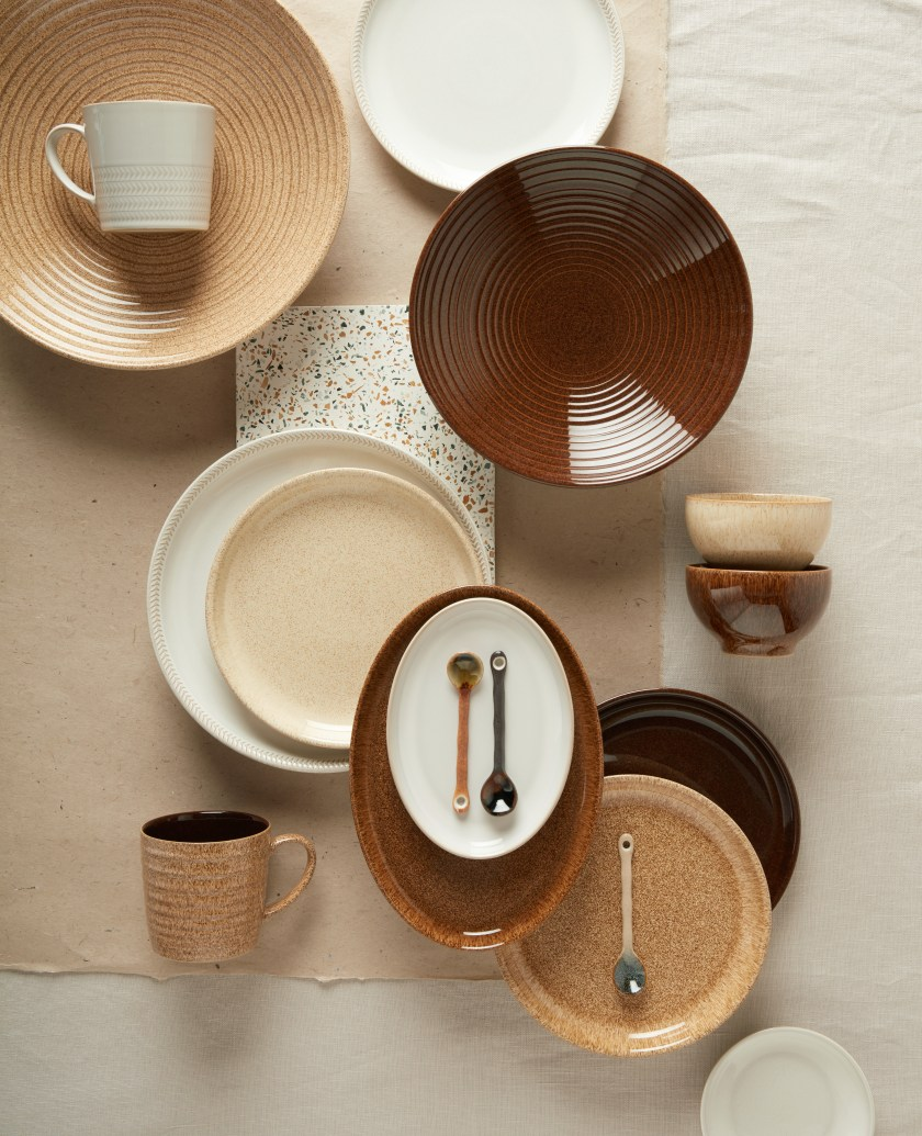Collection of brown and cream Studio Craft and Natural Canvas Bowls.