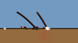 The worm gets blasted in half.
