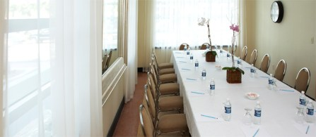 Meeting room with a boardroom setup