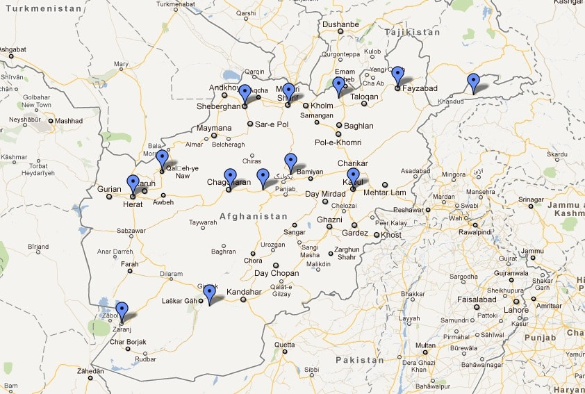 Map of the locations for my documentary film in central asia