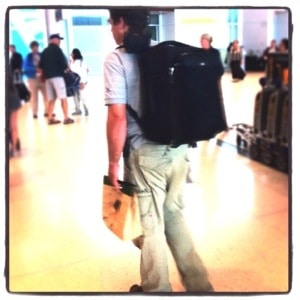 Pascal Depuhl carries his gear comfortably through a peruvian airport on recent assignment in the jungles.