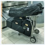 A baggage cart can save your back when traveling with 100s of pounds