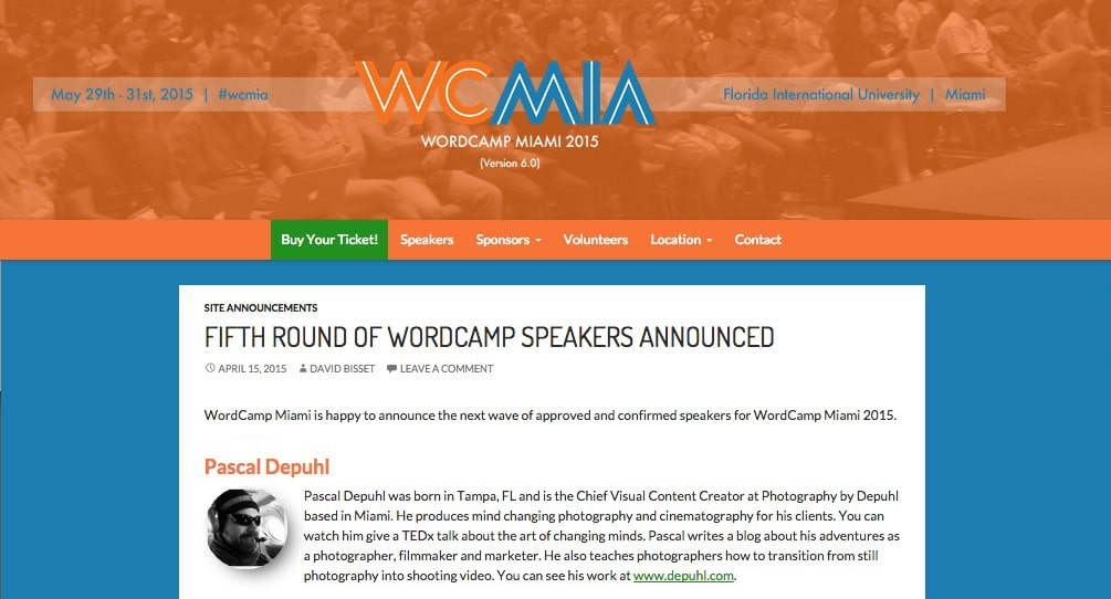 Pascal Depuhl slated to speak at WordCamp Miami.