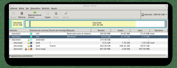 Eliminar Windows con GParted