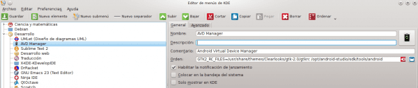 KDE Menú AVD