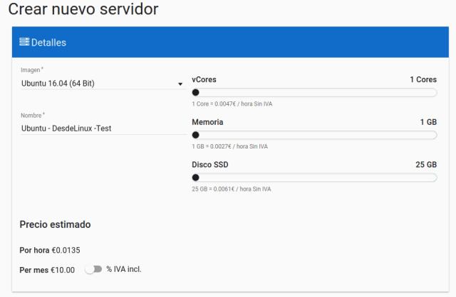 Crear nuevo servidor Clouding.io