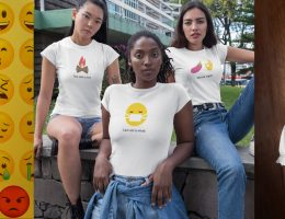 three emoji t-shirt on designhero.shop