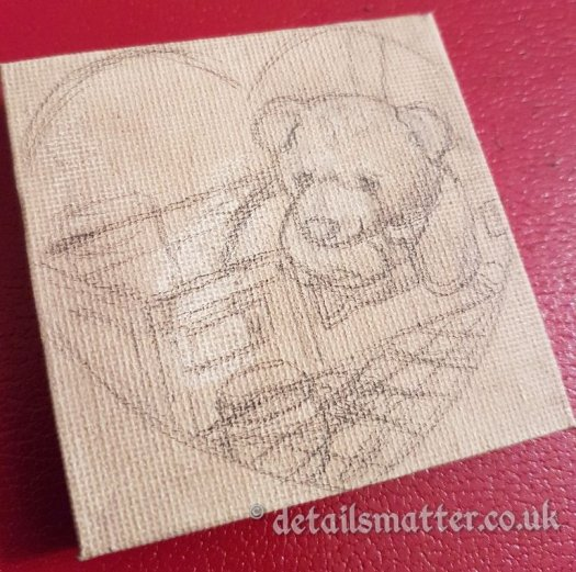 Rough sketch of bear in picnic case looking at honey jar on tonal ground canvas