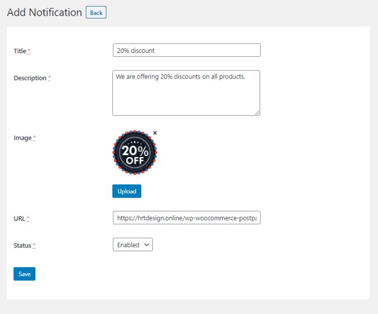 Add new push notification from Progressive Web App (PWA) notification menu
