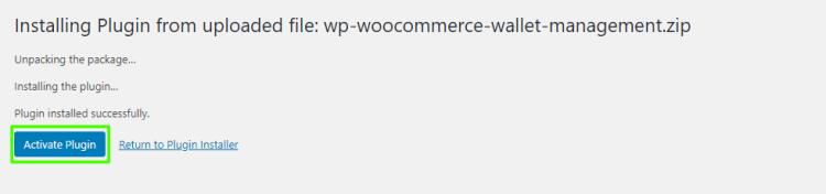 Activate WooCommerce Wallet Management plugin
