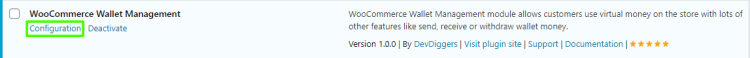 WooCommerce Wallet Management Configuration click