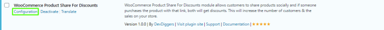 Configuration click from plugins page