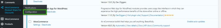 Configuration from admin menu