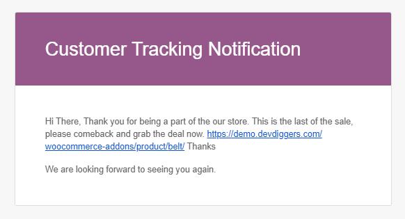 WooCommerce Customer Tracking marketing mail