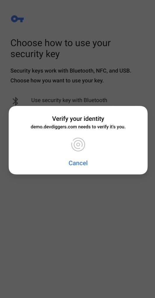WooCommerce Biometric Login add biometric detail popup step 3