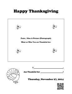 Happy Thanksgiving Activity