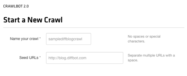 Crawl basics: a name and a started (seed) URL