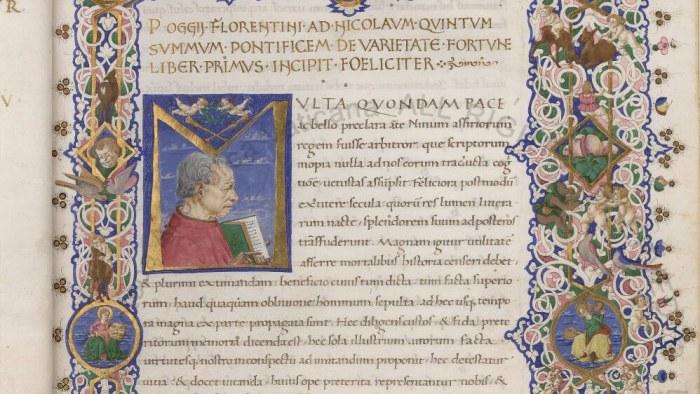 A portrait of Poggio Bracciolini in Urb. Lat. 224.