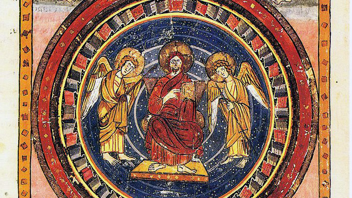 Laurentian Library, Maiestas Domini (Christ in Majesty) with the Four Evangelists and their symbols, at the start of the New Testament; page from Codex Amiatinus (fol. 796v), Firenze, Biblioteca Medicea Laurenziana.