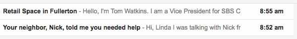 email subject line with a referral source