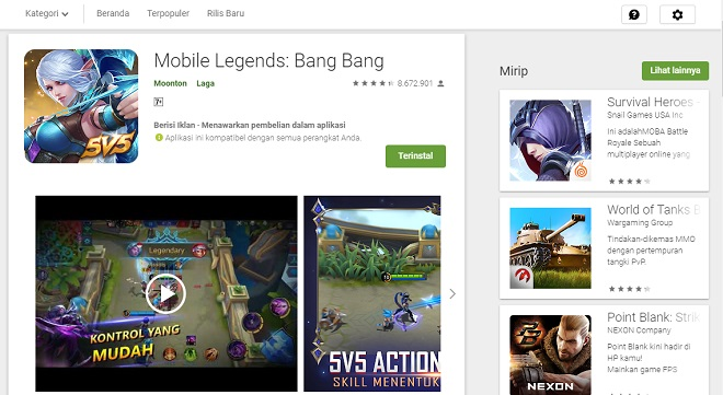 Cara Main Game Mobile Legends di PC Nox Player 3