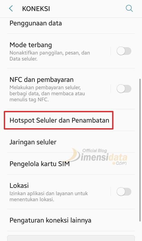 Menyambungkan Hotspot Dengan kabel Data USB 2