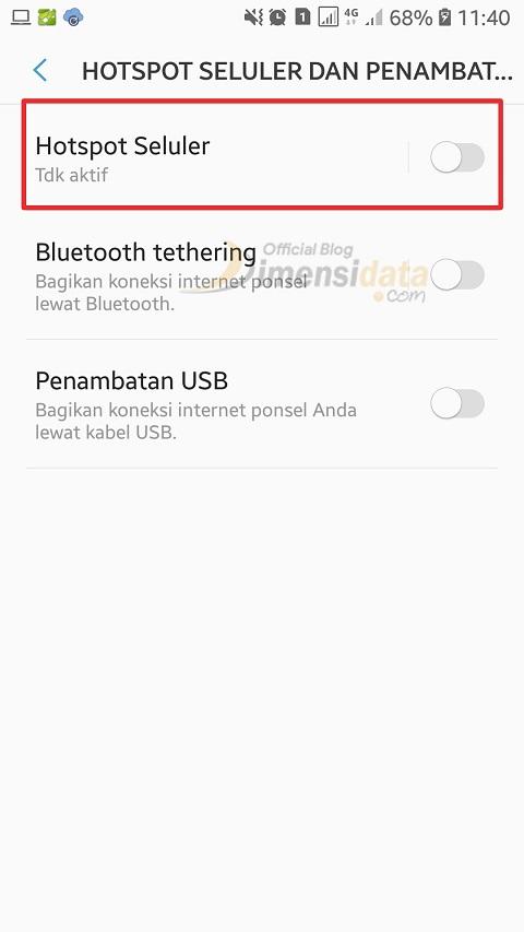 Menyambungkan Internet menggunakan WiFi Hostpt Tethering 3
