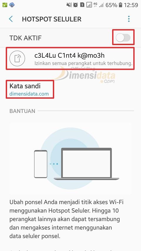 Menyambungkan Internet menggunakan WiFi Hostpt Tethering 4