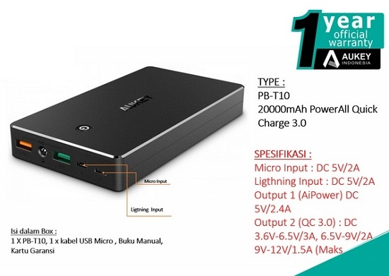 Power Bank Quick Charge 3.0 Terbaik Aukey PB-T10 20000 mAh