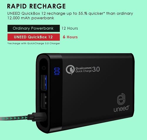 Power Bank Quick Charge 3.0 Terbaik UNEED 12000mAh