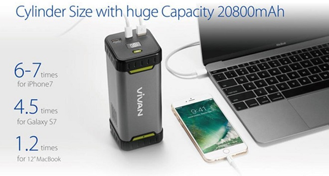 Power Bank Quick Charge 3.0 Terbaik Vivan Power Elite MF20 20800 mAh