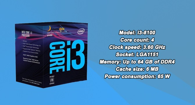 Processor PC Gaming Terbaik Intel Core i3 8100