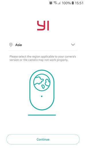buka aplikasi YI HOME dan pilih lokasi sesuai negara