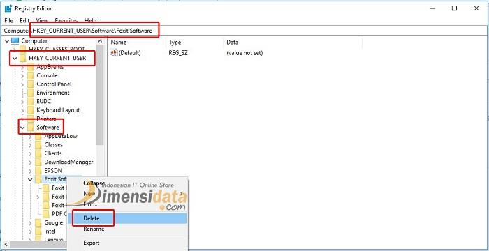 Uinstall aplikasi lewat Regedit 2