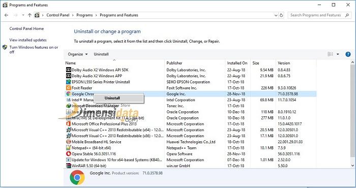 Uinstall aplikasi lewat program