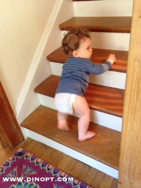 Baby crawling stairs