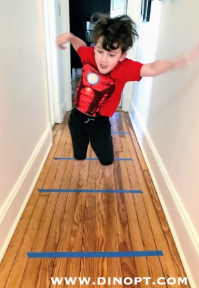 jumping over tape