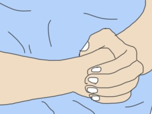 Positie van de handen Heimlich greep