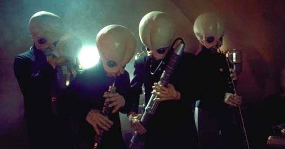 Figrin D'an and the Modal Nodes (The Cantina Band) from the film Star Wars