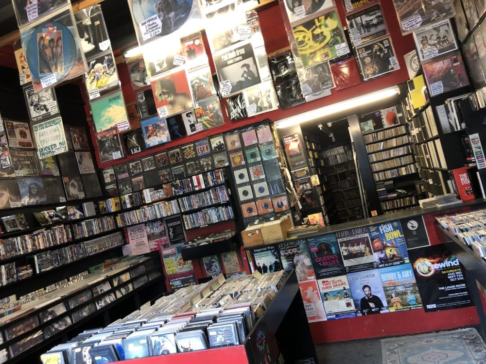 Inside view of Vinyl Villains record shop in Endinburgh, Scotland