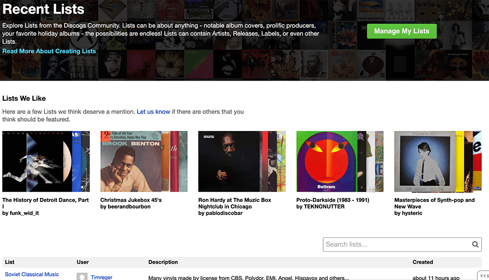 a screenshot from the new List Explorer page on Discogs