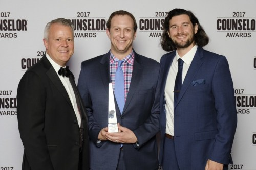 Pictured from left to right: Tim Andrews, president and CEO of Advertising Specialty Institute®, Origaudio co-founders, Jason Lucash and Mike Szymczak.