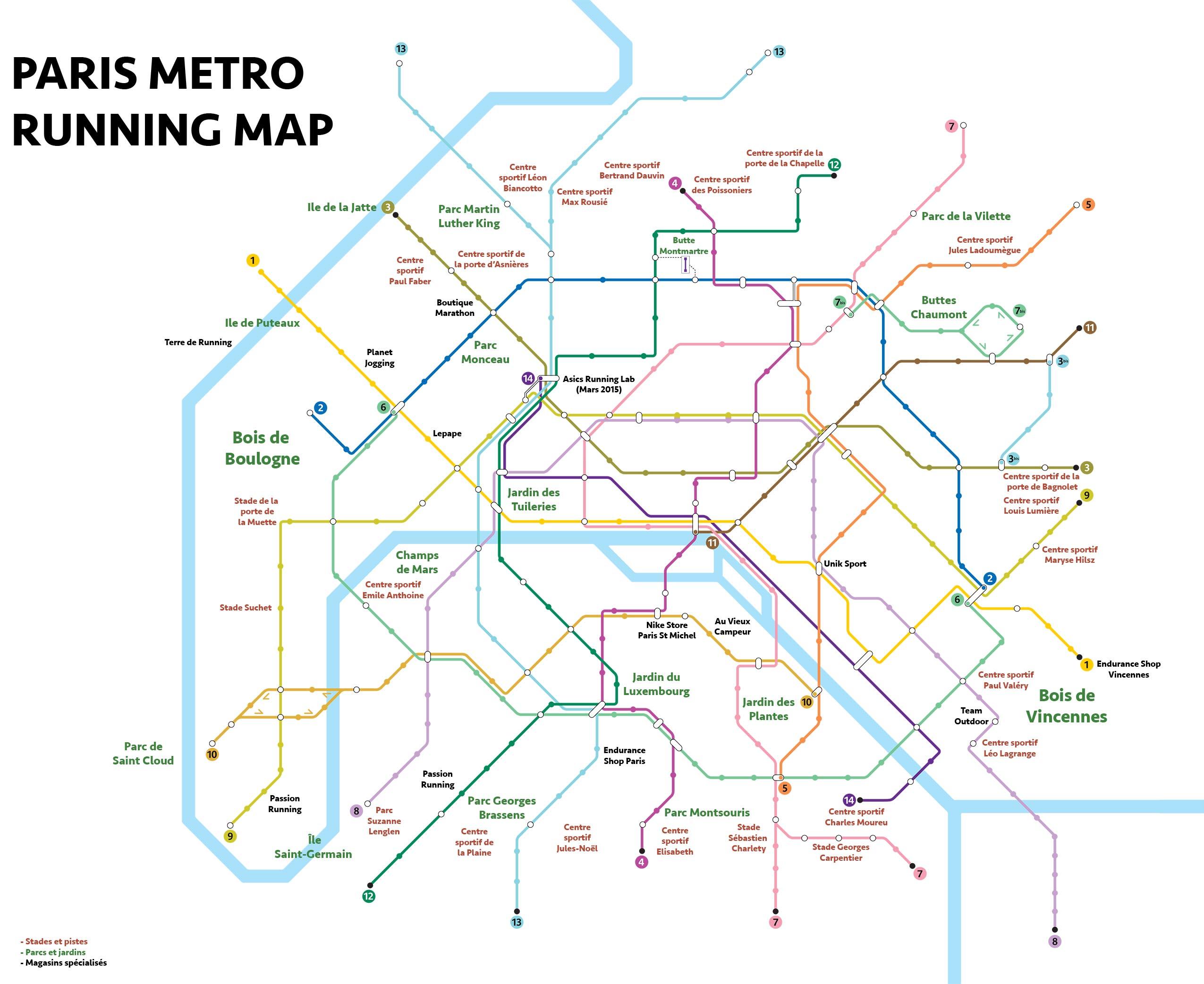 Paris Metro Running Map – Le plan de métro de la course à pied à ...