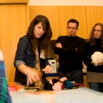 Lizzy Wetzel describes the process of turning wool roving into felt