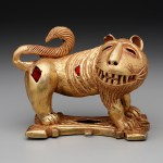 Sword ornament in the form of a lion, Ghana: Nsuta State, Asante people, c. mid-20th century, cast gold and felt, The Eugene and Margaret McDermott Art Fund, Inc., 2010.2.McD