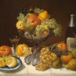 Fruit Still Life with Champagne Bottle, Severin Roesen, 1848