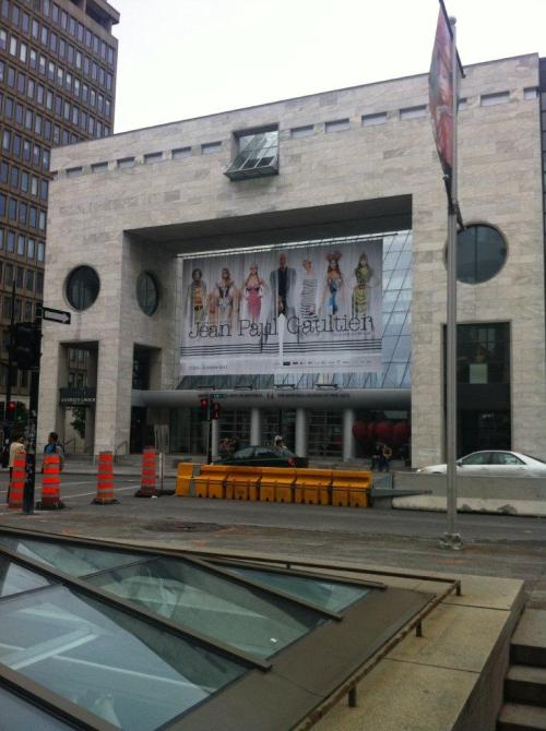 An entry to the Montreal Museum of Fine Arts with exhibition banner above